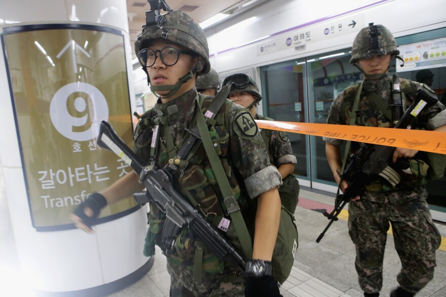 South Korean soldiers participate in an anti-terror and anti-chemical terror exercise Ulchi Freedom Guardian exercise last year.