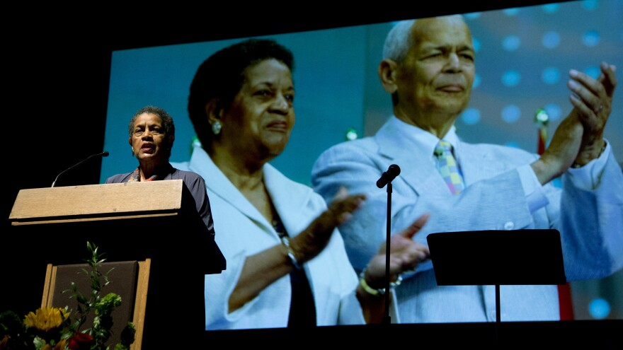 Civil rights activist Myrlie Evers-Williams speaks during the memorial service for the late civil rights leader Julian Bond, who succeeded her as leader of the NAACP, on Tuesday at the Lincoln Theater in Washington.