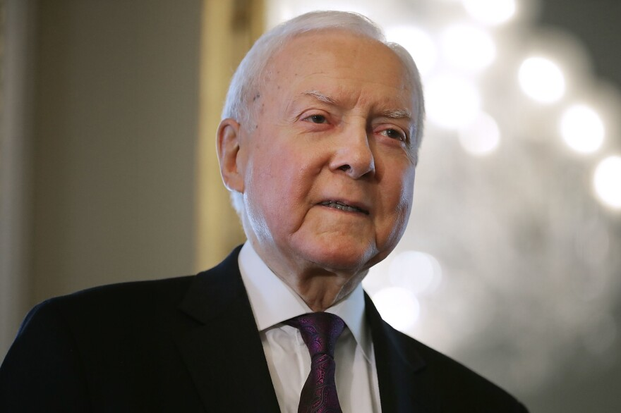 Republican Sen. Orrin Hatch of Utah waits for the arrival of Judge Brett Kavanaugh in the U.S. Capitol on July 11.