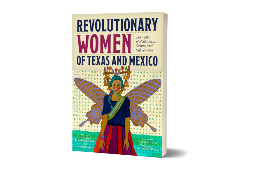 Book cover with an illustration of a revolutionary woman with butterfly wings.