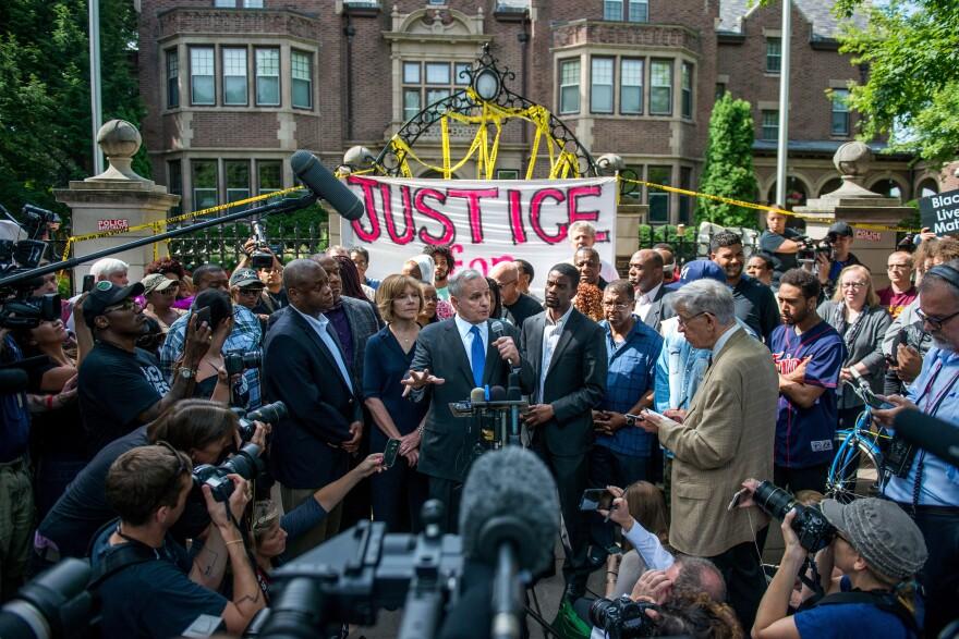 Minnesota Gov. Mark Dayton speaks outside the governor's mansion following the police shooting death of Philando Castile in St. Paul, Minn.