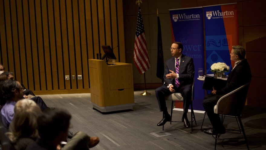 During a speech at the Wharton School of the University of Pennsylvania in Philadelphia, Rosenstein talked about the duty of government lawyers to do their jobs even if it incurs criticism.