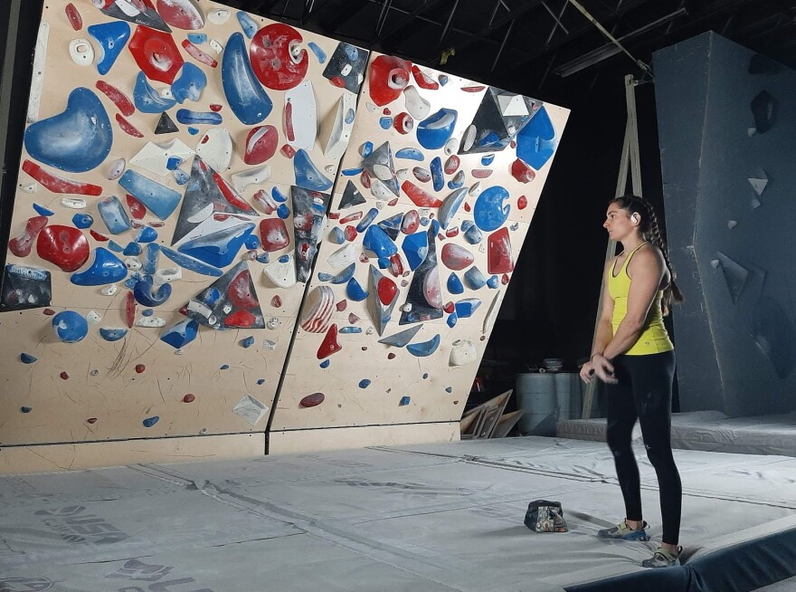 Athlete Kyra Condie at USA Climbing's training facility in Salt Lake City last year.