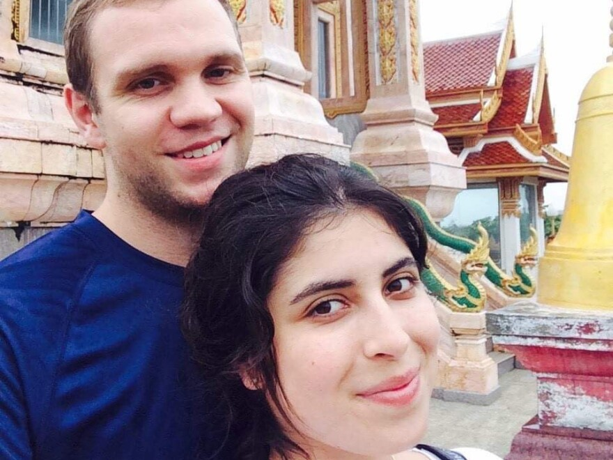 British academic Matthew Hedges was jailed — and then pardoned — after being accused of spying in the UAE. He is seen here with his wife, Daniela Tejada, while on holiday in Thailand.