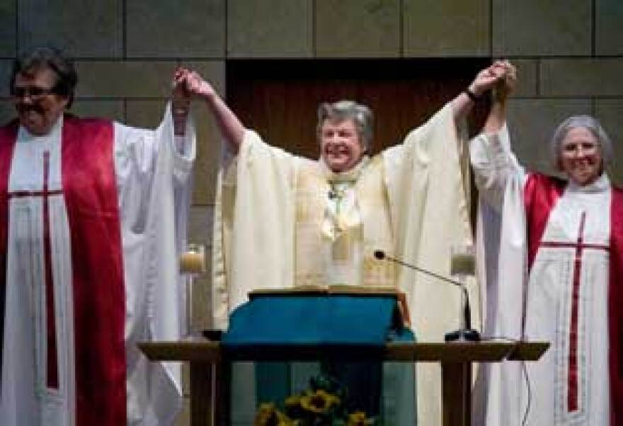 Rose Marie Hudson, Patricia Fresen and Elsie McGrath at the ordination ceremony in 2007. The three were excommunicated several months later.