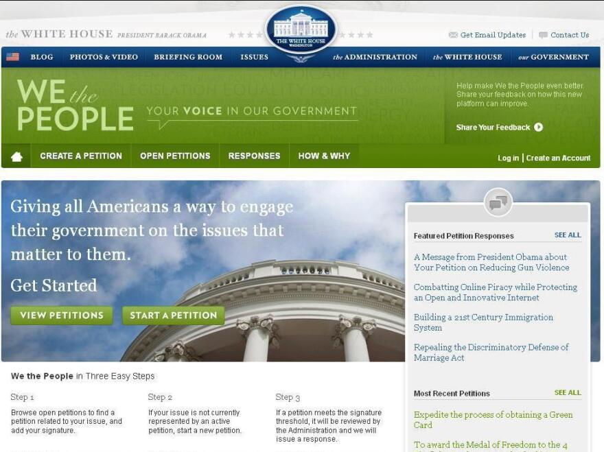 The We the People website at WhiteHouse.gov.