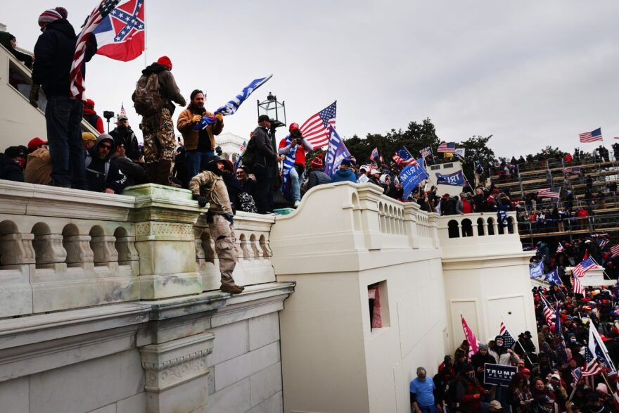 Pro-Trump insurrectionists stormed the U.S. Capitol Building after President Trump spoke to them at a 'Stop the Steal' riot, breaking windows and clashing with police. The extremists had gathered in the nation's capital to riot against the ratification of President-elect Joe Biden's Electoral College victory over President Trump in the 2020 election.