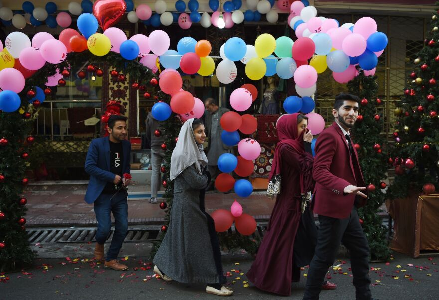 Afghan couples in Kabul out for a stroll on Valentine's Day this year.