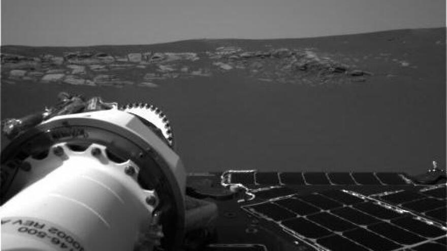 This image is among the first taken by NASA's Opportunity rover after landing on a Martian plain called Meridiani Planum in January 2004.