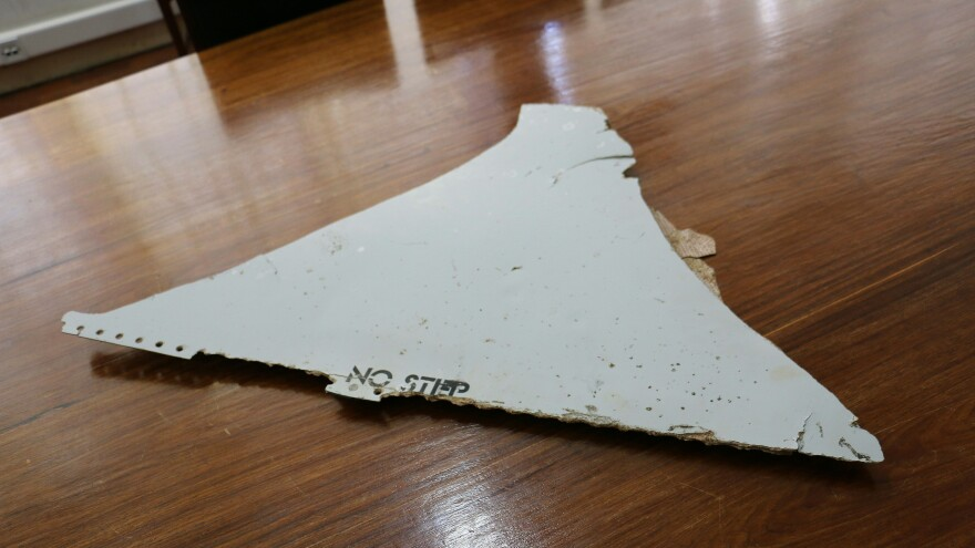 This piece of what is believed to be aircraft wreckage was found early this month off the coast of Mozambique.