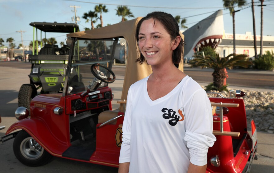 Rachelle McCan owns Sly Customs, the latest entrant into Port Aransas' golf cart rental business.