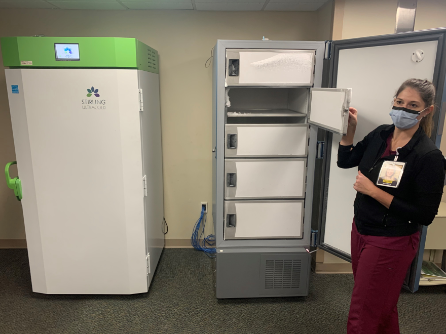 The new COVID-19 vaccine freezers are unveiled at Tampa General Hospital