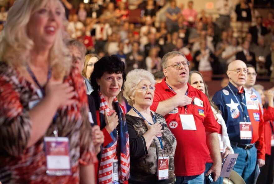 Texas Republicans say the pledge of allegiance at the convention in Fort Worth in 2018.