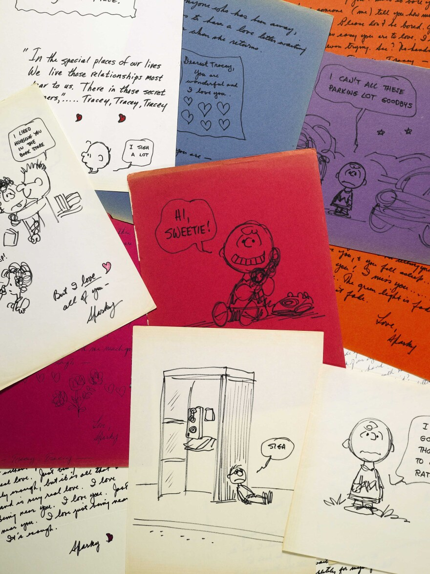 Sotheby's is putting up for auction letters and drawings that Charles Schulz, the creator of <em>Peanuts</em>, gave to Tracey Claudius.