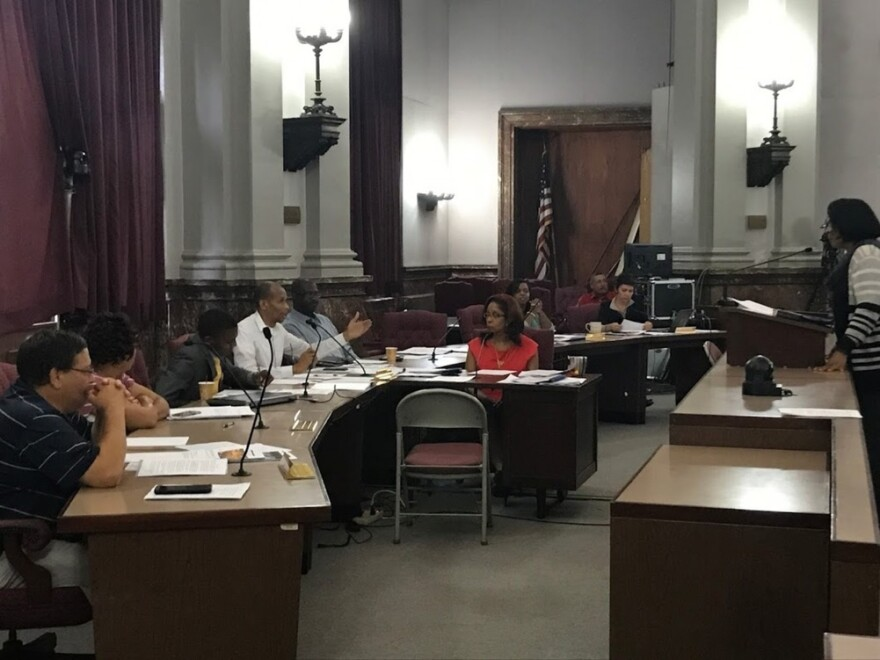 St. Louis Alderwoman Sharon Tyus answers questions from fellow public safety committee members on Oct. 10, 2017.