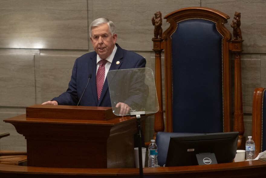 Missouri Gov. Mike Parson gives his State of the State address on Wednesday in the Senate chamber of the Missouri State Capitol Building in Jefferson City.