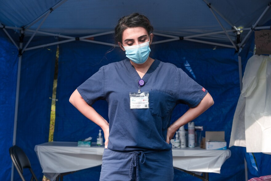 Sheeba Shafaq at the COVID-19 testing site in Sacramento, Calif., where the Afghani doctor was named a supervisor.