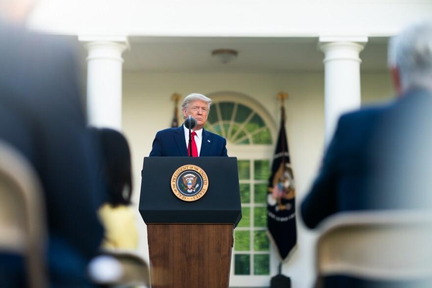 President Donald Trump speaks from the White House Rose Garden on April 1, 2020.