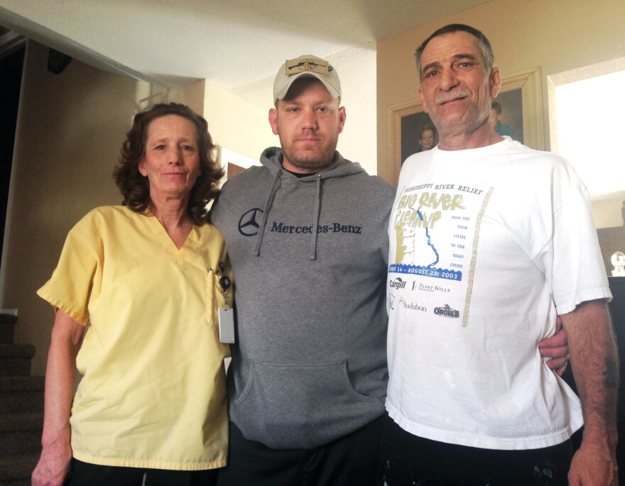 Eric James with his mother, Beverly Morris, and father, Robert James. Eric secretly recorded more than 20 hours of sessions he had with behavioral health specialists and Army officials.