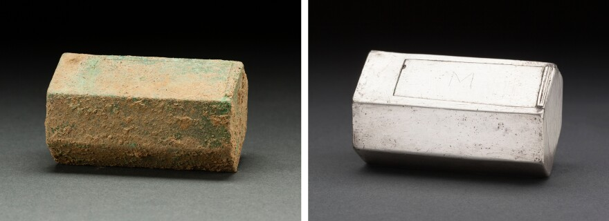 A well-preserved silver box, thought to be a Roman Catholic reliquary, rested atop the coffin of a man believed to be Capt. Gabriel Archer. The box was an unexpected find at the site of the 1608 Anglican church, suggesting the colonist retained his Roman Catholic faith, perhaps in secret.