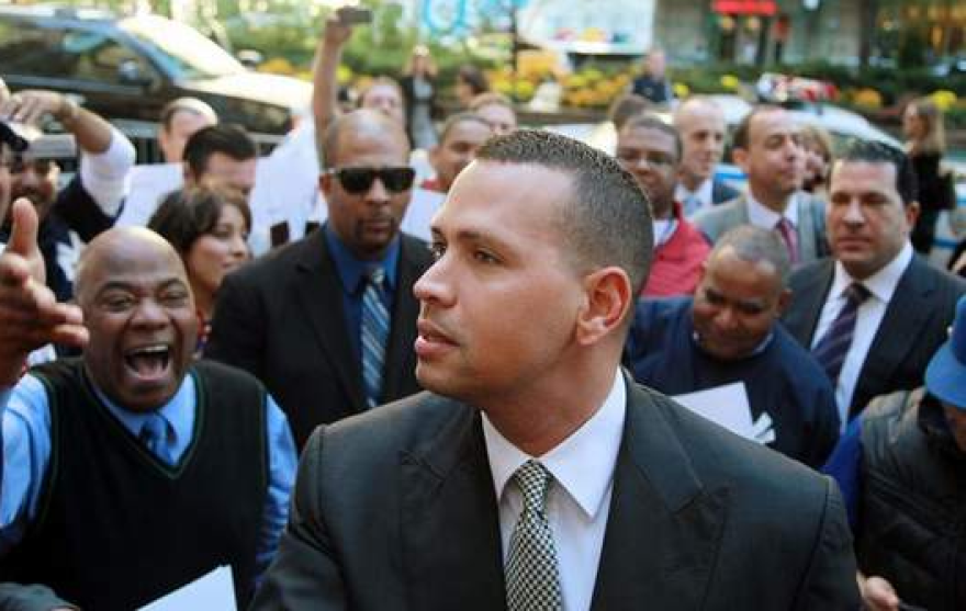 Alex Rodriguez arrives at the offices of Major League Baseball in New York last year.