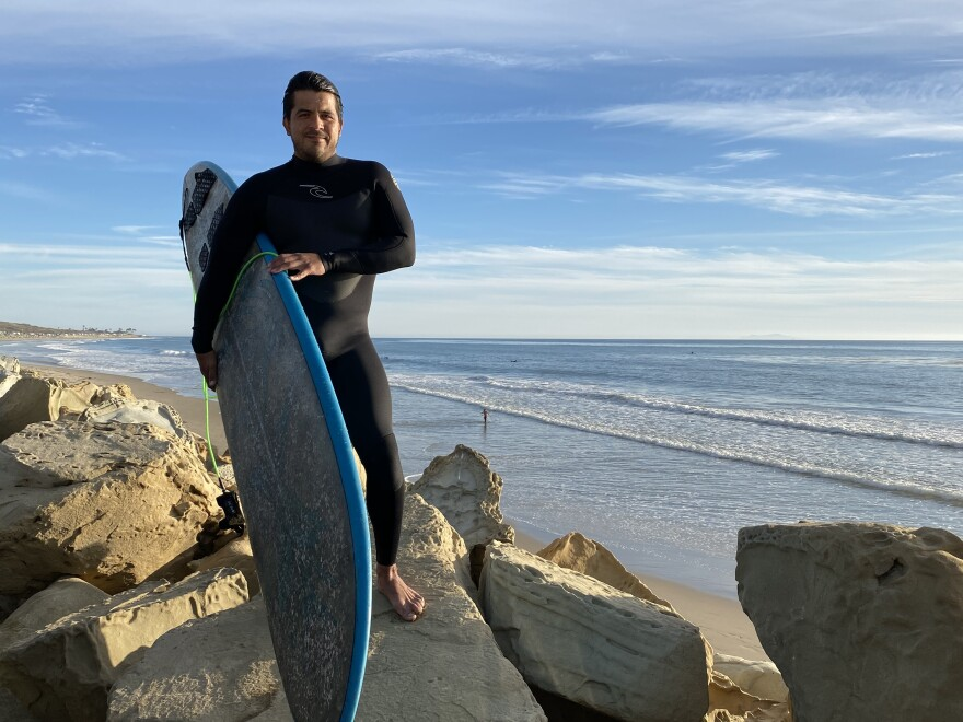 Eddie Garcia is a Coast Guard veteran who grew up in Southern California surfing at the beaches of Ventura County. He still sets aside some hours each week to head to the shore and ride the waves.