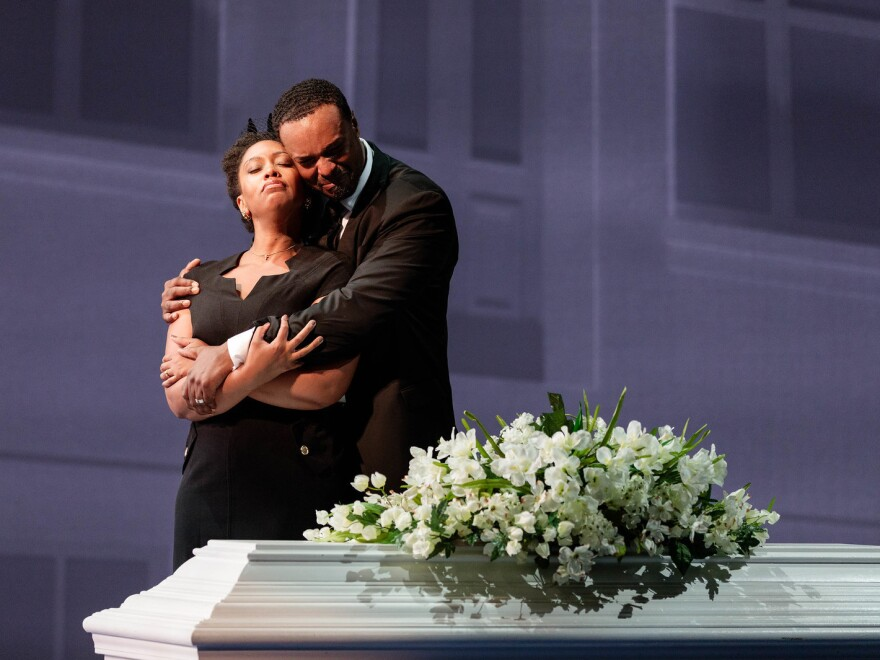 Briana Hunter as The Mother and Kenneth Kellogg as The Father in the 2019 premiere of Jeanine Tesori and Tazewell Thompson's <em>Blue</em>.