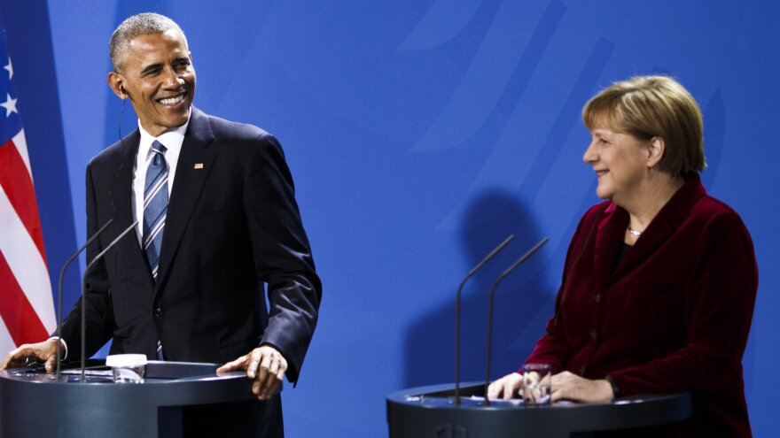 President Barack Obama and German Chancellor Angela stressed the importance of working toward political and economic unity Thursday, during a news conference at the Chancellery in Berlin.