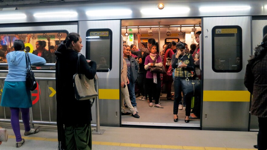 The women-only carriage on New Delhi's metro has gained great popularity since it was inaugurated in 2010.