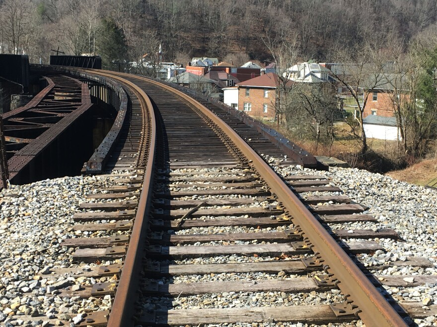 This Feb. 15, 2017 photo shows railroad tracks along the West Virginia town of Matoaka, which once carried coal trains several times a day and at night.