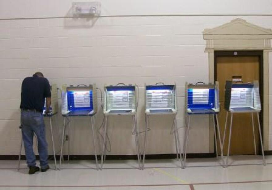 a photo of voting booths