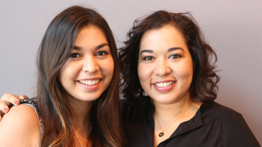 Noramay Cadena (right), with her daughter, Chassitty Saldana, on a visit with StoryCorps in Los Angeles.