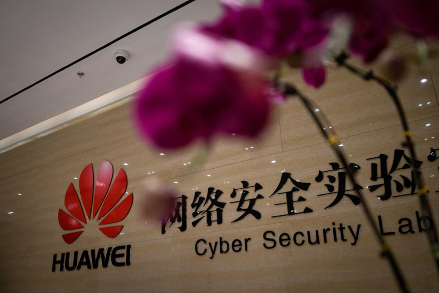 A Huawei logo is seen at the entrance of the Huawei Cyber Security Lab at a Huawei production base during a media tour in Donggguan, China's Guangdong province on March 6, 2019. Chinese telecom giant Huawei gave foreign media a peek into its state-of-the-art facilities on March 6 as the normally secretive company steps up a counter-offensive against US warnings that it could be used by Beijing for espionage and sabotage. (WANG ZHAO/AFP via Getty Images)