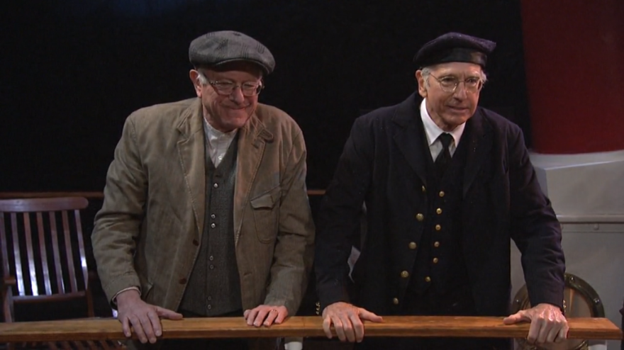 """As """"Bernie Sanderswitzky,"""" Bernie Sanders alluded to a central campaign message in one skit. """"I'm so sick of the 1 percent getting this preferential treatment,"""" he says, in an argument with Larry David's character over who gets lifeboats first in a Titanic-esque situation."""