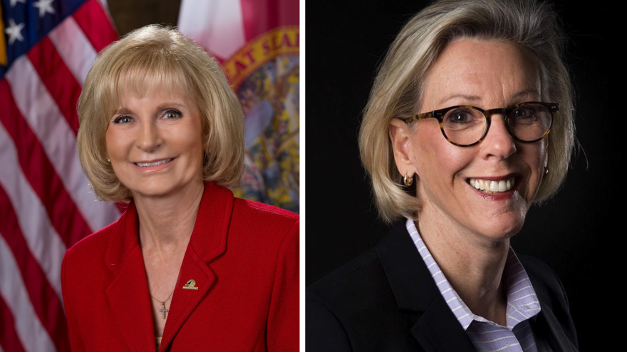 Republican County Commissioner Sandra Murman, left, and Democratic Tampa Mayor Jane Castor, right, are at odds over stay-at-home policy