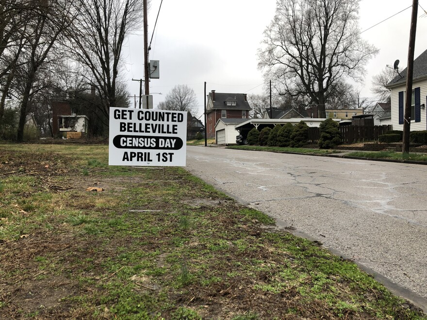 A sign in Belleville encouraging residents to respond to the census on March 24, 2020. The coronavirus has upended much of the local census outreach efforts. 03 24 2020