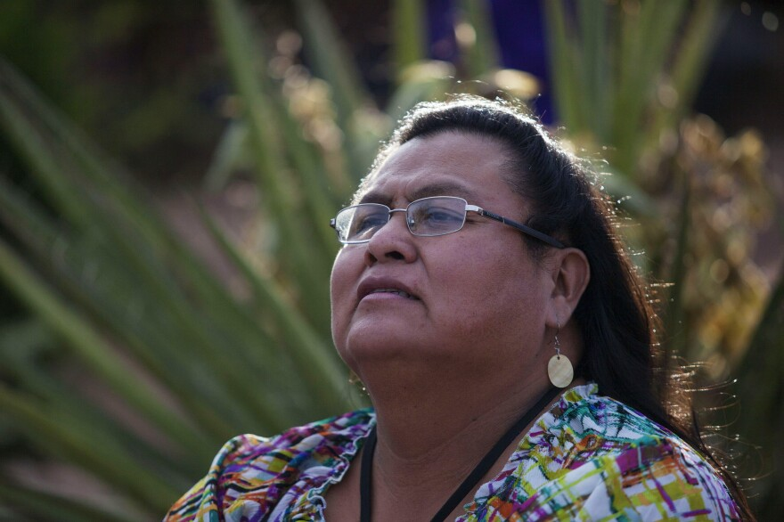 Master of ceremonies for Diné Pride, Mattee Jim, is a transgender Diné woman and an outspoken advocate for LGBT rights. She also works to educate trans populations about their health care rights.