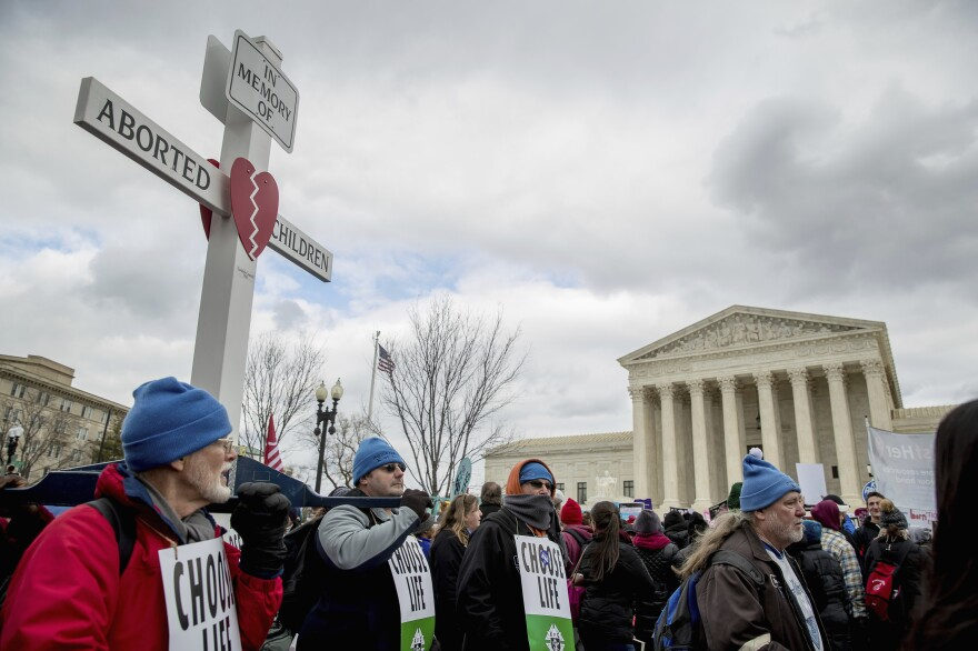 """Anti-abortion activists converge in front of the Supreme Court last year during the annual """"March for Life."""""""