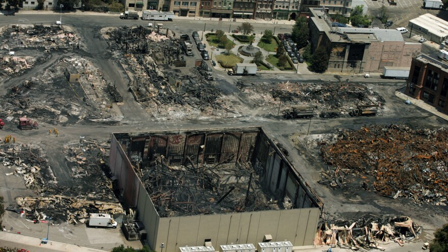 An aerial view of part of the Universal Studios backlot where a fire broke out on June 1, 2008, and burned out sites on 3 1/2 acres of the 391-acre property.
