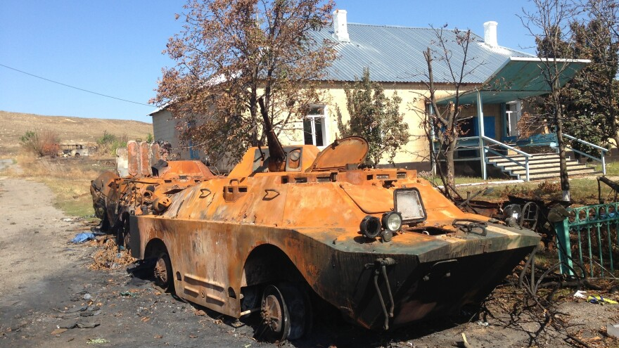 A burned-out Ukrainian armored vehicle in the village of Novokaterinovka, site of a major battle at the end of August.