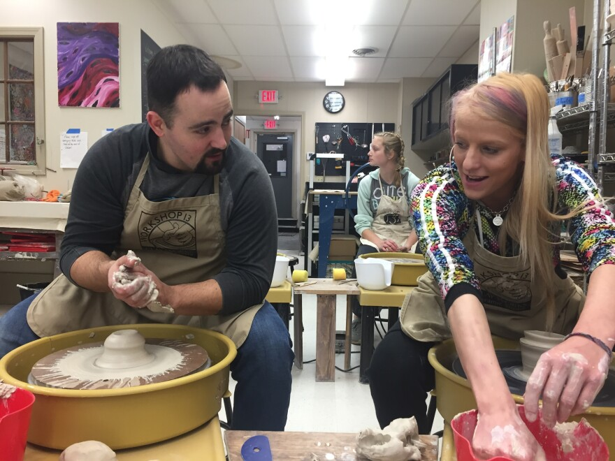Emily Ligawiec (right) and Officer John Cacela take weekly pottery classes together in Ware, Mass. Rather than arrest Ligawiec last winter when she took heroin and stole her mom's car, he offered her help.