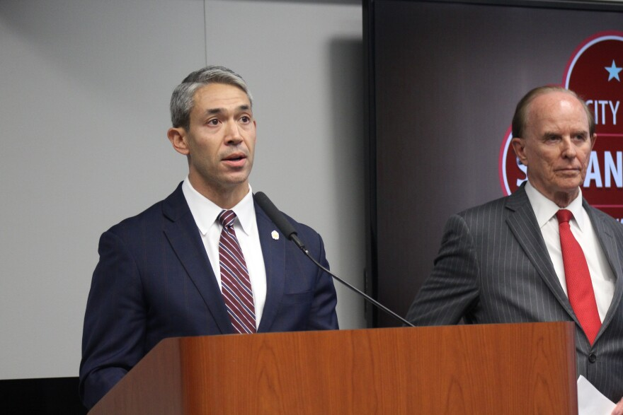 Mayor Ron Nirenberg and Judge Nelson Wolff speak at a press conference about a stay-at-home order to slow the spread of COVID-19.