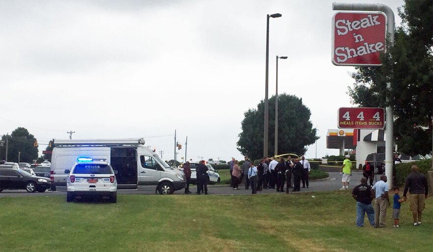 Police respond to attempted robbery and shooting at Steak 'n' Shake on South Blvd. near I-485 in south Charlotte.