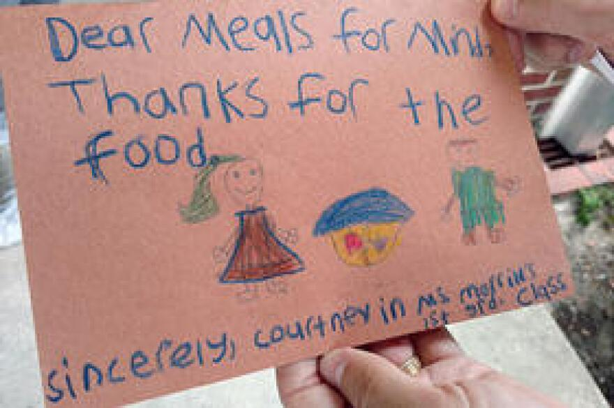 A thank you note to Feeding Tampa Bay from a student at Tampa's Foster Elementary School.