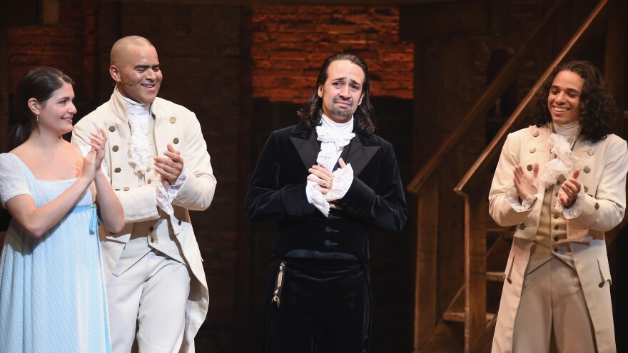 Left to right: Phillipa Soo, Christopher Jackson, Lin-Manuel Miranda and Anthony Ramos attend Lin-Manuel Miranda's final performance of <em>Hamilton</em> on Broadway on July 9, 2016.