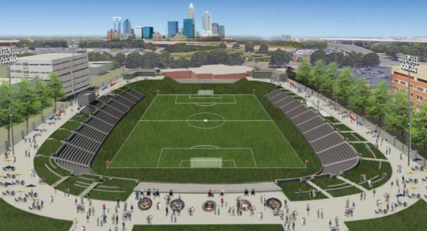 Architect's drawing shows plan for a renovated Memorial Stadium near uptown Charlotte. JenkinsPeer Architects is working with the county.