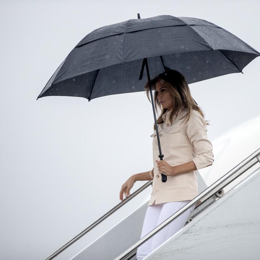 Mrs. Trump arrives at McAllen Miller International Airport in  Texas Thursday.