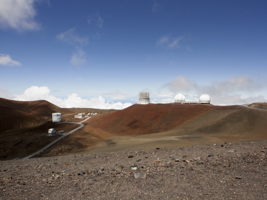 Telescopes on the summit of Mauna Kea on Hawaii's Big Island. Some native Hawaiians consider Mauna Kea sacred and object to construction of a new giant telescope there.