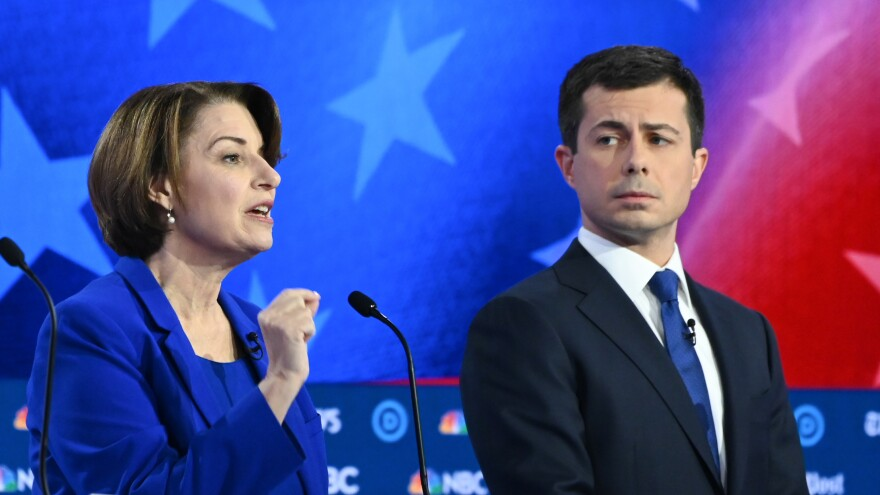 Minnesota Sen. Amy Klobuchar and South Bend, Ind., Mayor Pete Buttigieg participate in the November Democratic primary debate in Atlanta.