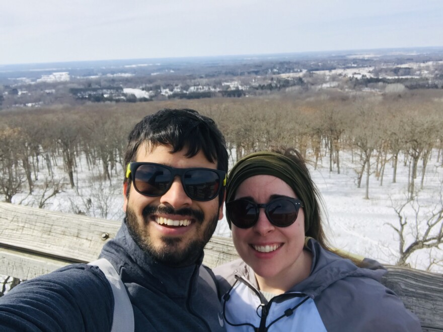 Girdhar with his girlfriend. He is a graduate student at Michigan Technological University in Houghton, Mich.